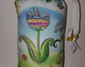 Medium Sized, Padded, Floral,  Spring,  Ladybugs,  Butterflies, Print, Padded, Glass Pipe, Pouch, Case, Cover, Handmade, Protective, Storage