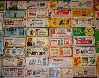 20 Vintage 1960s Grocery Store Coupons: Paper Ephemera, Nostalgia, Advertising, Scrapbooking, Repurpose Project Lot
