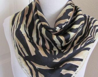 "Echo // Vintage Tiger Animal Print Silk Scarf // 24"" Inch 61cm Square"