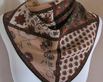 "Oscar de la Renta // Beautiful Brown Floral Silk Scarf  // 21"" Inch 54cm Square // Best of the Best"