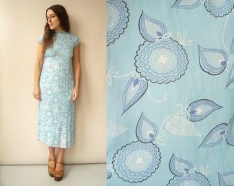 1940's Vintage Pastel Blue Novelty Print Rayon Cheongsam Style Midi Tea Dress Size XS