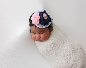 Baby Headband, Navy And Pink Headband, Newborn Headband, Photography Prop, Rosette Headband