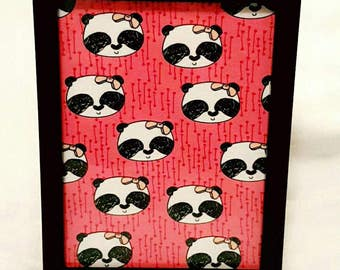 Pink Panda wall frame for girls bedroom or nursery