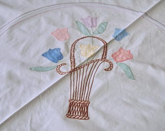 Vintage Tablecloth Luncheon Cloth Embroidered Appliqued Tulips Flower Basket 37 x 38