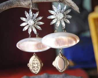 FANCY-- Victorian Mother Of Pearl Brooch Chased Gold Charm Vintage Rhinestone Flower EARRINGS