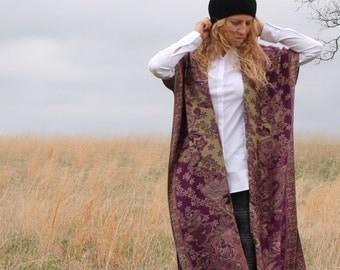 Full Length Kimono Coat Jacket Cashmere & Silk Bohemian Shawl Boho Hippy Chic One Size S M L XL Plus Choose color / print