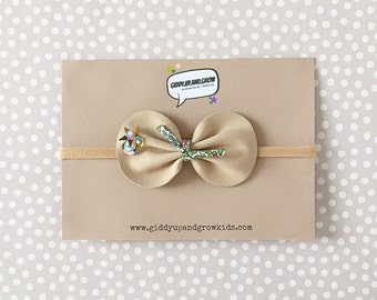 Leather Bow Headband with Sequins, leather bows, Liberty of London, giddyupandgrow