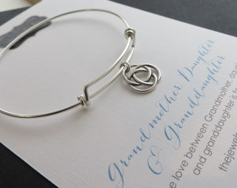 Generations jewelry, infinite circle love knot bracelet, sterling silver bangle, gift for grandma, grandmother, three generations