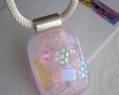 Dichroic Necklace Lilac Pink Iridescent Fused Glass Jewelry Silver Mesh Chain Pastel Pink Pendant Color Shifting Dichro Pretty Pink Sparkle