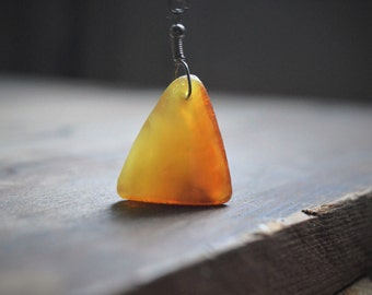 Triangle Baltic Amber Necklace - Polished and Raw Amber bead Honey sunshine yellow Talisman pendant