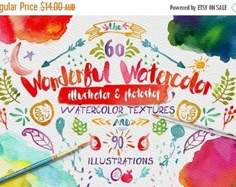 80% Off SALE Wonderful Watercolor Digital Graphic Design Kit - Hand Painted Textures and ...