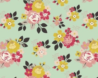 Mint Mustard Pink and Black Floral Jersey Knit Fabric, Vintage Daydream by Design by Dani for Riley Blake Designs, 1 Yard