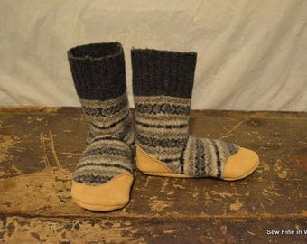 Youth Size 3 (EU 34) FAIR ISLE Grey Felted Wool and Wool Blend Soccasins with Leather Soles, Toes and Heels