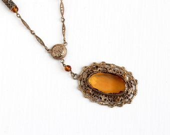 Vintage Art Deco Simulated Citrine Brass Necklace - 1930s Orange Brown Glass Stone Filigree Lavalier Statement Costume Jewelry