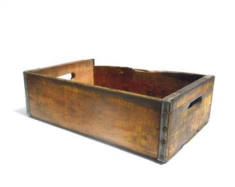 Vintage Distressed Wood Beverage Crate / Kickapoo Joy Juice / Wood Crate with Handles and Slatted Bottom / Stained Worn Faded / Old Wood Box