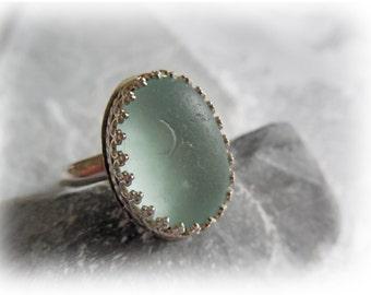 Aqua Blue Beach Glass Sterling Silver Ring - US Size 9-1/2