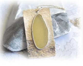 Yellow Sea Glass Pendant - FINE Silver