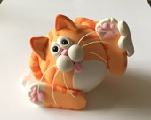Polymer Clay Red Tabby Cat Figurine