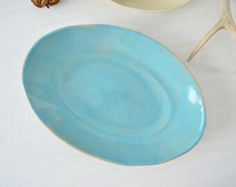 Oval Serving Bowl, Rustic Bowl,Blue Bowl