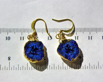 Pair - Azurite Blueberry Nodule earrings (AZU009) measures 16mm x 5mm each Total Weight 5.4 grams and plated in 22 caret gold