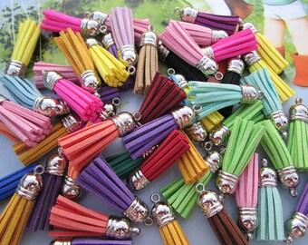 50 Assorted color Tassels, faux Suede tassel, leather string tassel, suede leather tassels, Jewelry tassel pendant, mini tassels, tassel cap