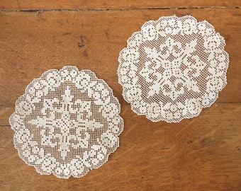 Small Antique Filet Lace Linen Doilies, Set of Two