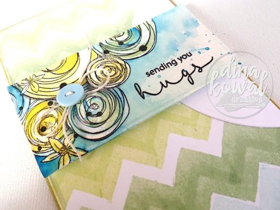 handmade greeting cards - sending you hugs - floral - chevron