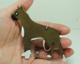Boxer dog key chain Hand painted Leather
