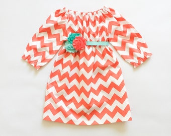 Coral Chevron Girls Dress - Coral and Aqua - Girls Dresses - Girls Chevron Dress - Baby Girl Dress - Baby Girl Chevron Dress - Spring Dress
