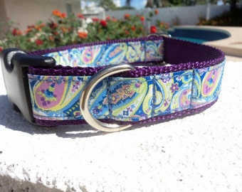 """Dog Collar Lavender Paisley 1"""" width side release buckle adjustable / no martingale limited ribbon"""