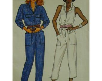 Capri Jumpsuit Pattern, Cut-in Shoulders, Sleeveless, Button Front, Patch Pockets, Butterick No.3304 UNCUT Size 6 8 10