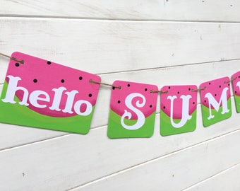 HELLO SUMMER Banner, summer photo prop, Watermelon banner, summer party, pool party, end of school party, summer picnic, pink and green