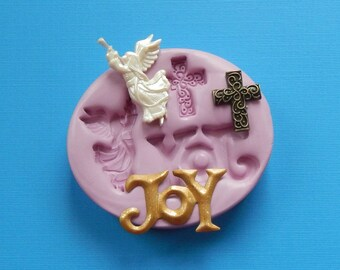 Angel Silicone Mold Joy Cross Christian Christmas Singing Mold