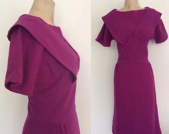 1950's Fuchsia Wool Wiggle Dress Size Medium by Maeberry Vintage