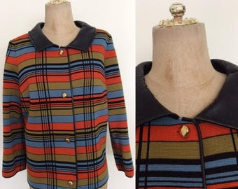 30% OFF 1970's Wool Striped Cardigan w/ Leather Collar & Trim Size Medium Large by Maeberry Vintage