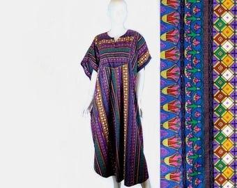 Egyptian Print Caftan, Jewel Tones, Vintage 1980s, Extra Large / Plus Size