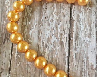 Large Golden Yellow Acrylic Pearl Beads Strand