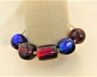 Cobalt Blue and Deep Red Chunky Glass Beads on a Silver Plated Chain