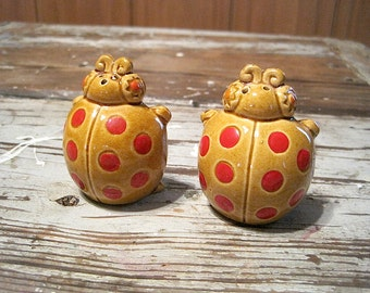 Vintage Japan Ladybug Salt and Pepper Shakers