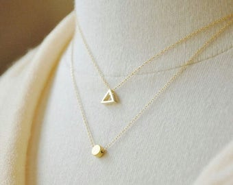 Mothers Day SALE Gold Triangle Outline Necklace - Dainty Necklace, Layering Necklace, Small Triangle Necklace, Minimal Jewelry, Everyday Jew