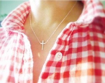 Cross Necklace-Gold Cross Necklace-Silver Cross Necklace-Cross Charm Necklace-Small Cross Necklace-Sideways Cross Necklace-Momentusny