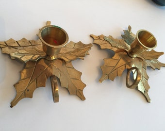 2PC Vintage Brass Candle stand/ Adorable 2pc brass candle stand with handle-leaf Pattern