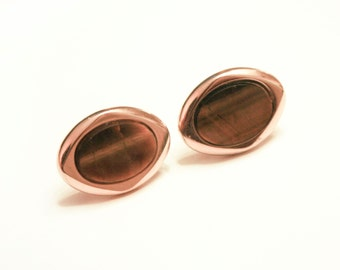 Gold Square Oval Tigers Eye Cuff links