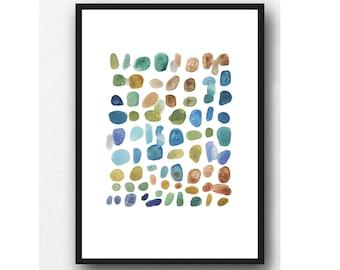 watercolor art print, Abstract watercolor painting, Watercolor blue green brown pebbles, watercolor print