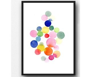 Watercolor painting, colorful nursery decor, abstract wall art, watercolor print, nursery room decor, large print