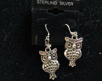 Owl Earrings, Silver Earrings, Dangle Earrings, Animal Earrings, Bird Earrings, Large Earrings, Gift for Her, Silver Owl, Owl Jewelry
