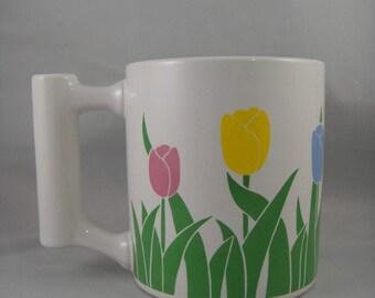 Tulip Mug with Bud Vase Handle White Ceramic FTDA