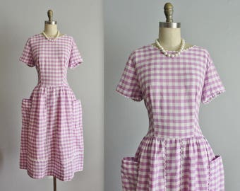 50's Gingham Dress // Vintage 1950's Purple White Gingham Cotton Full Garden Party Picnic Dress L
