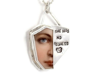 Inspiration Jewelry Gift For Women, Meaningful Jewelry Sterling Silver, Unusual Jewelry Gift,  Robin Wade Jewelry, No Regrets Pendant,  2209