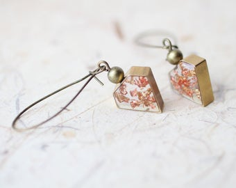 Transparent Diamond Dangle Earrings - Shimmering Gold Copper Foil - Resin Geometric Earrings
